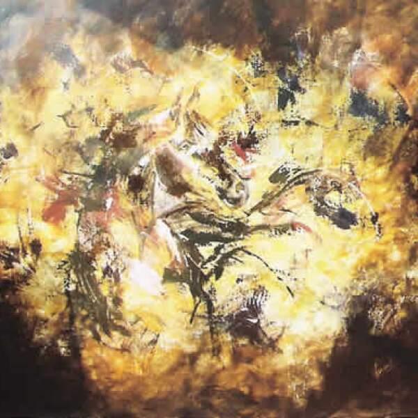 """Durante la agonía por la pérdida de su hijo, ésta se reflejó en lienzos que ha preferido no dar a conocer. """"El Alazán"""", mixta sobre tela, 1.60 x 2.00 m"""