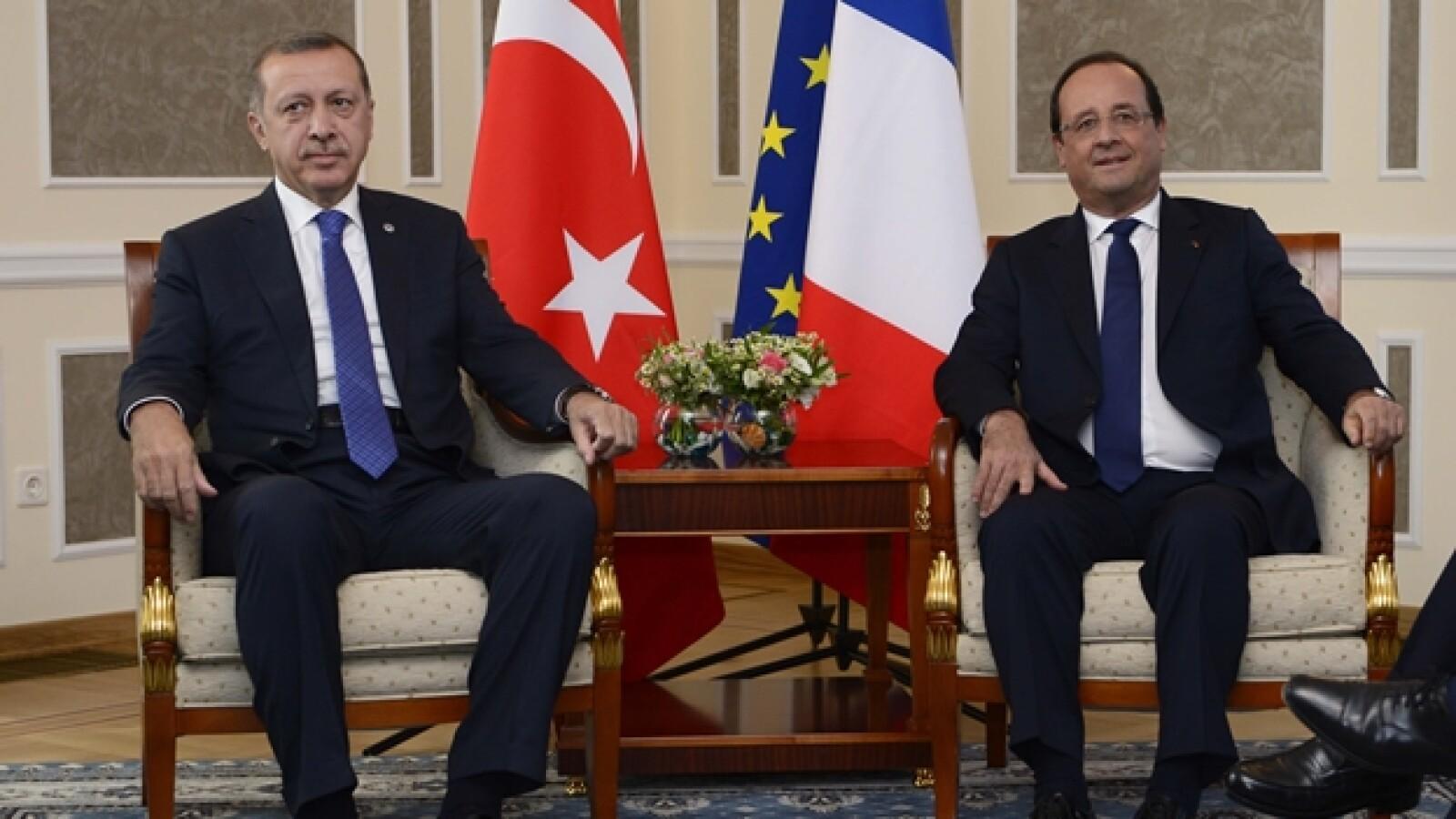recep tayyip, primer ministro de turquia y el presidente de francia, francois hollande