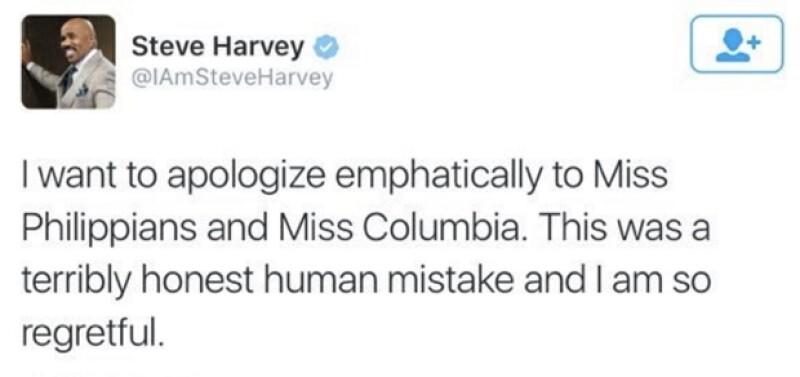 Steve Harvey se disculpa en Twitter.