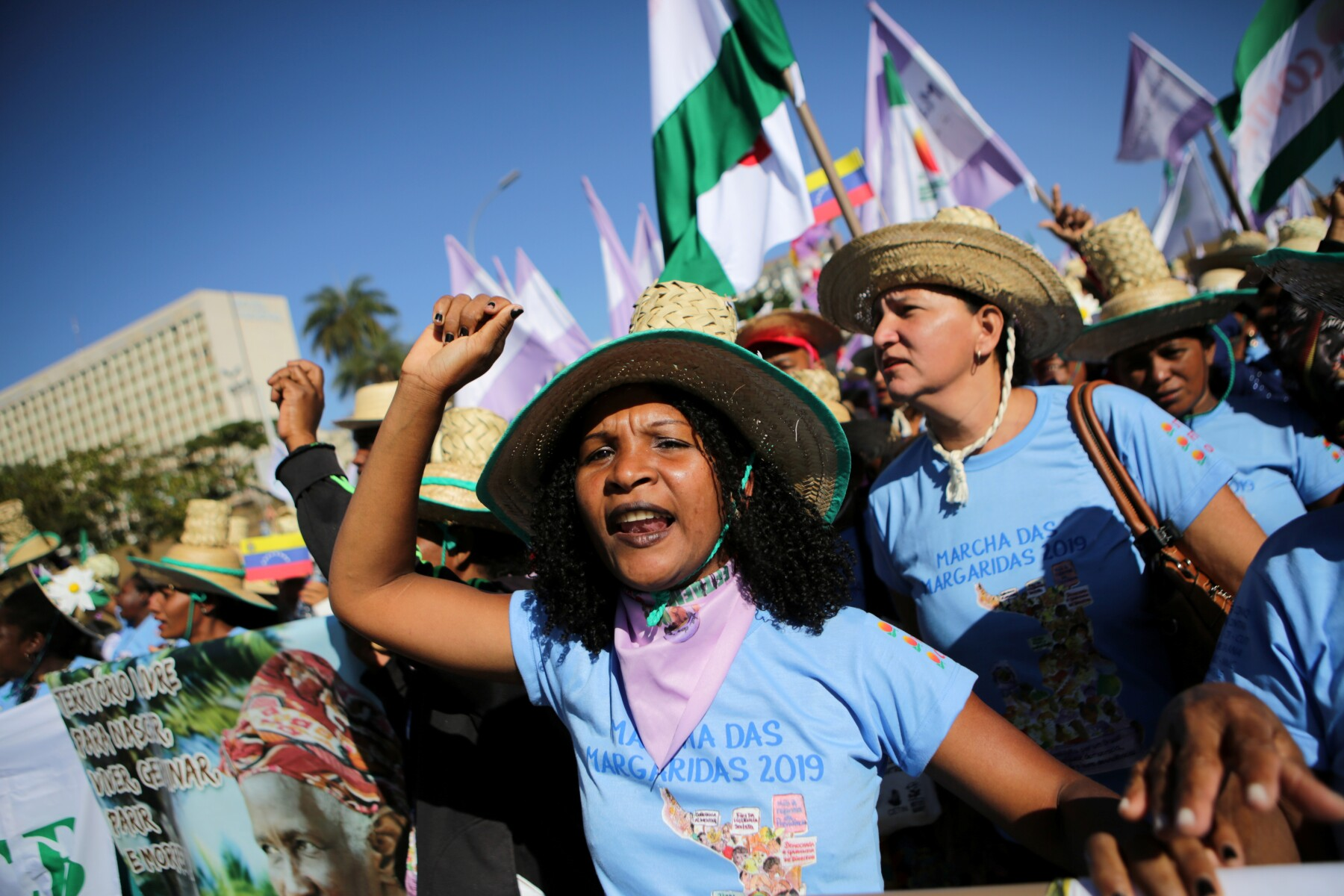 March of the Daisies, calling for equal rights for women working in rural areas and forests, in Brasilia
