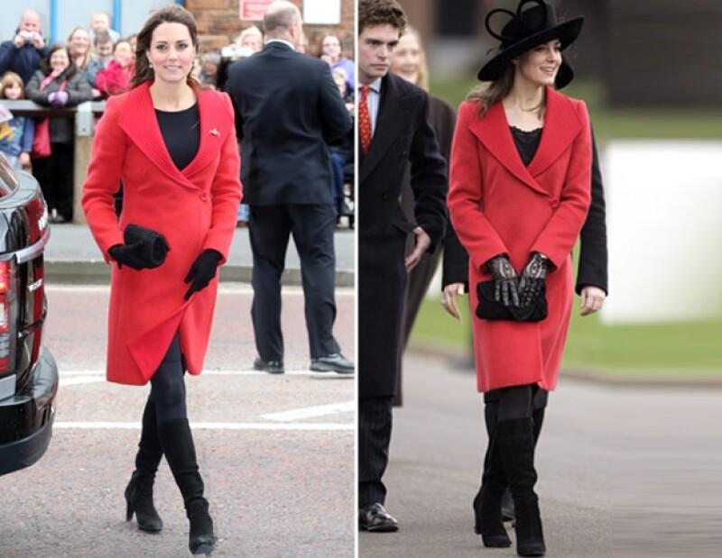 Un abrigo Versace rojo que utilizó hace casi siete años hizo lucir a la próxima mamá real verdaderamente encantadora durante una serie de actividades en Escocia.