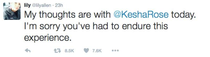 Lily Allen fue otra de las cantantes que se pronunciaron en apoyo a Kesha.