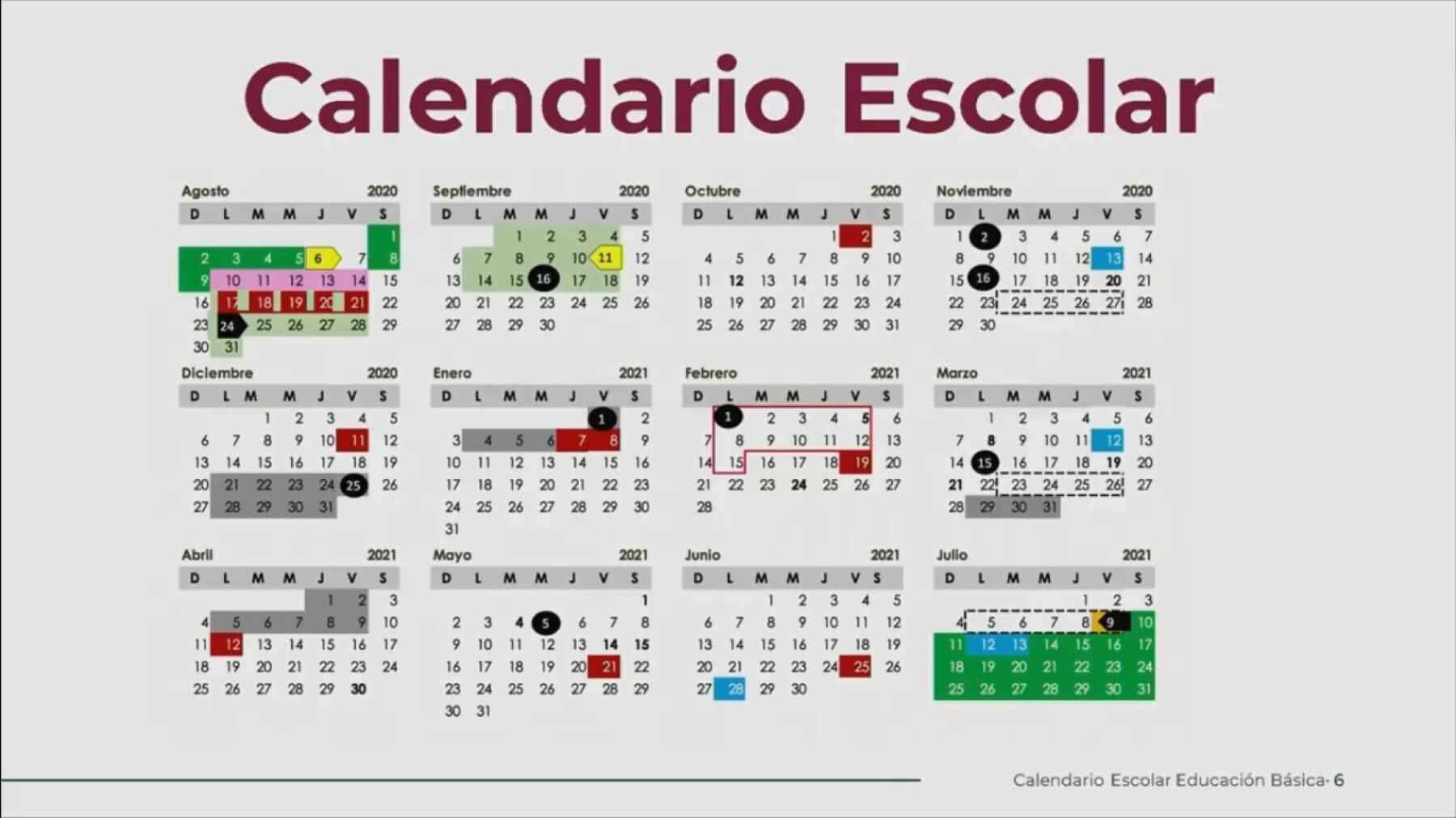 Ciclo escolar 2020 2021: el calendario tendrá 190 días efectivos