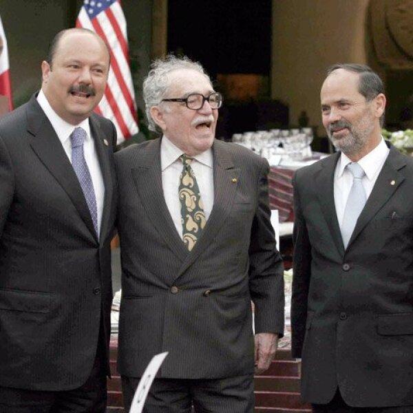 César Duarte, el premio nobel de literatura Gabriel García Márquez y Gustavo Madero a su llegada a la cena