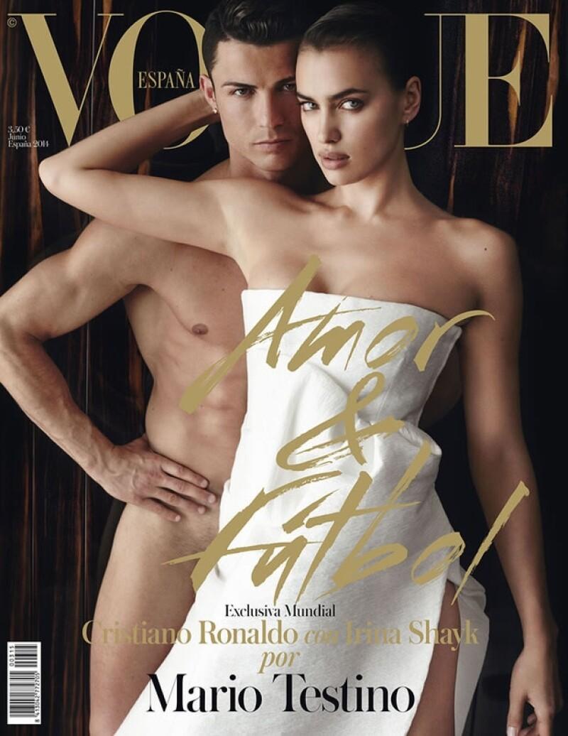 En la edición española de Vogue comparten portada Cristiano Ronaldo y su novia, Irina Shayk.