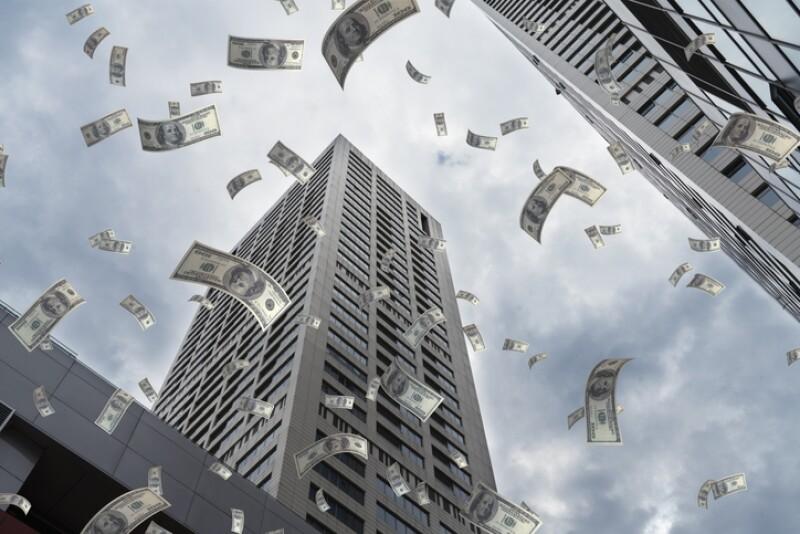 Dollar Flying in City