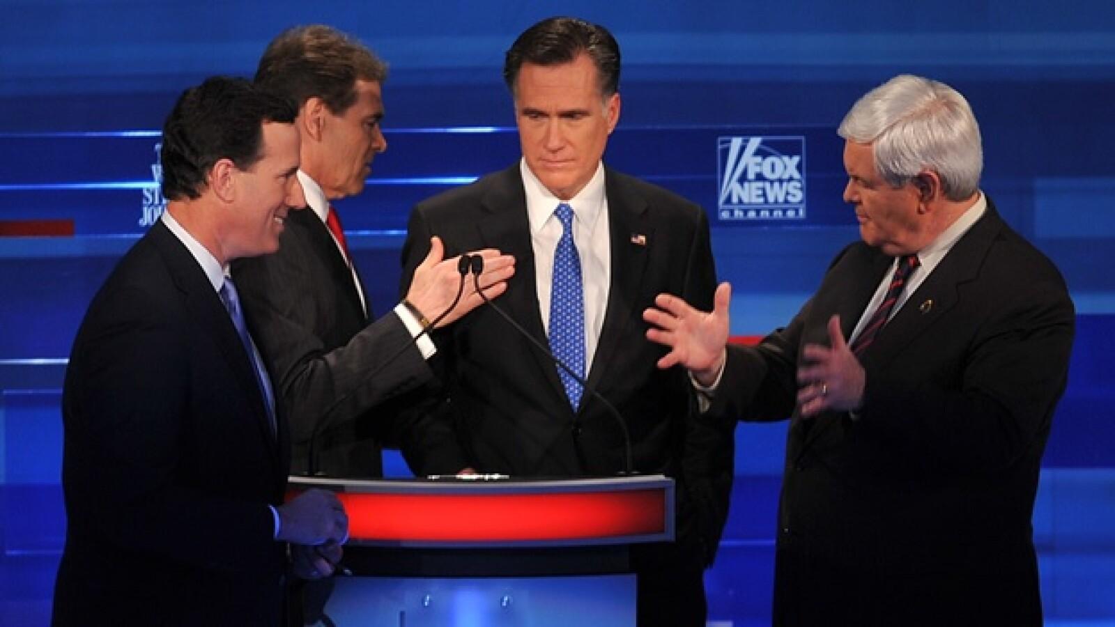 mitt romney, ron paul, newt gingrich, rick santorum, debate republicanos carolina del sur elecciones eu