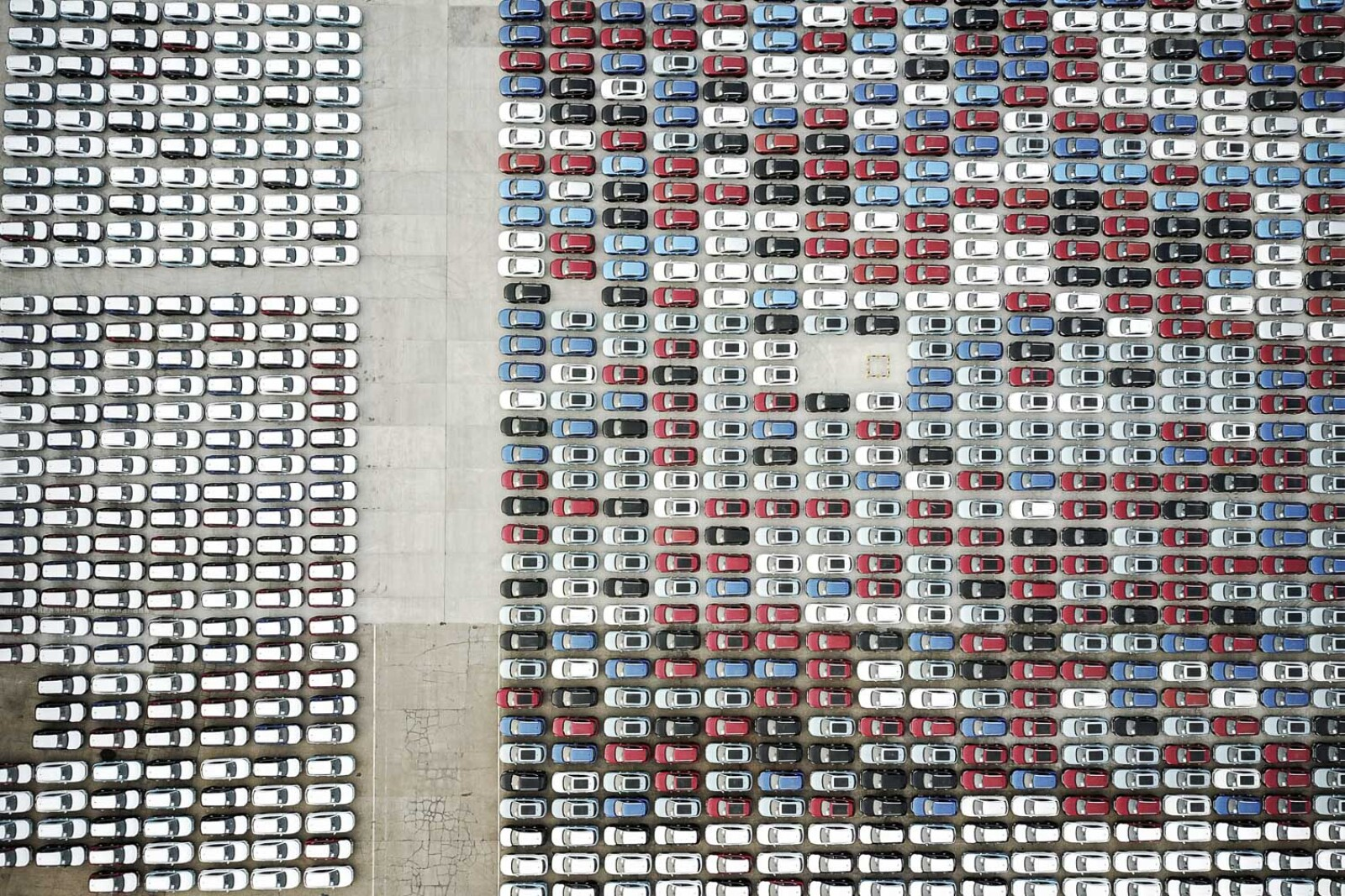 Cars for export are seen at a port in Lianyungang