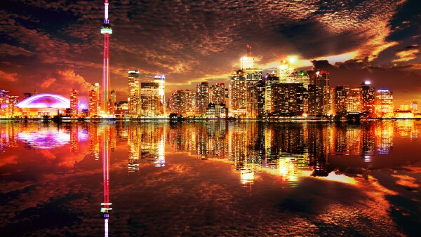 Majestic Toronto City Skyline with Water Reflection
