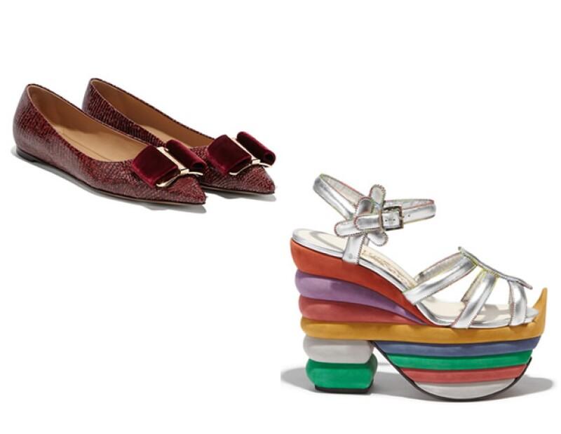 Versiones contemporáneas de los clásicos diseños de Salvatore Ferragamo: los flats Ballerina y los Rainbow.