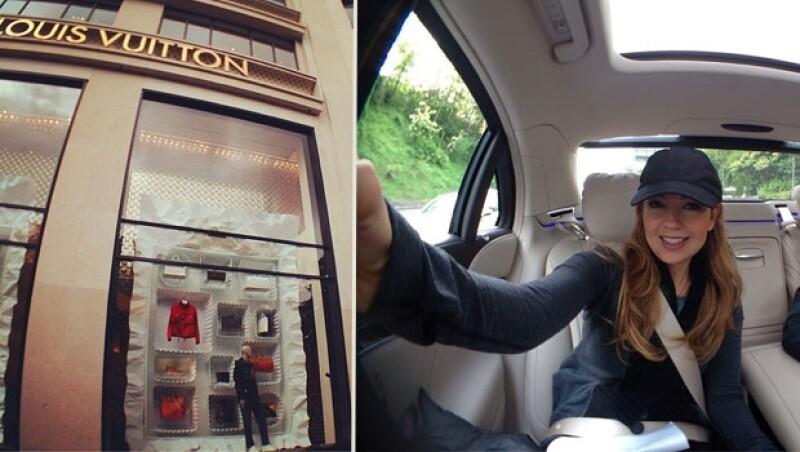 La mexicana presumió su llegada y se dijo emocionda por ir de compras a la tienda Louis Vuitton más grande,
