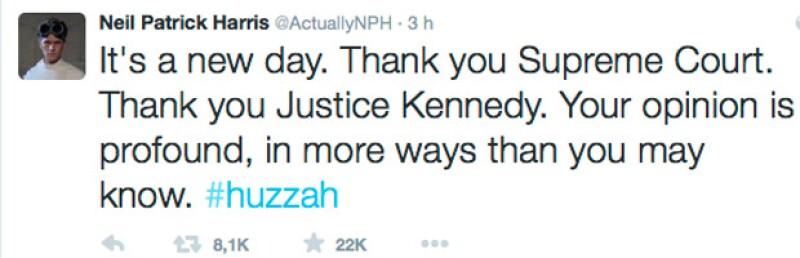 Es un nuevo día. Gracias Suprema Corte. Gracias justicia de Kennedy. Tu opinión es profunda, en más formas de las que te puedas imaginar.