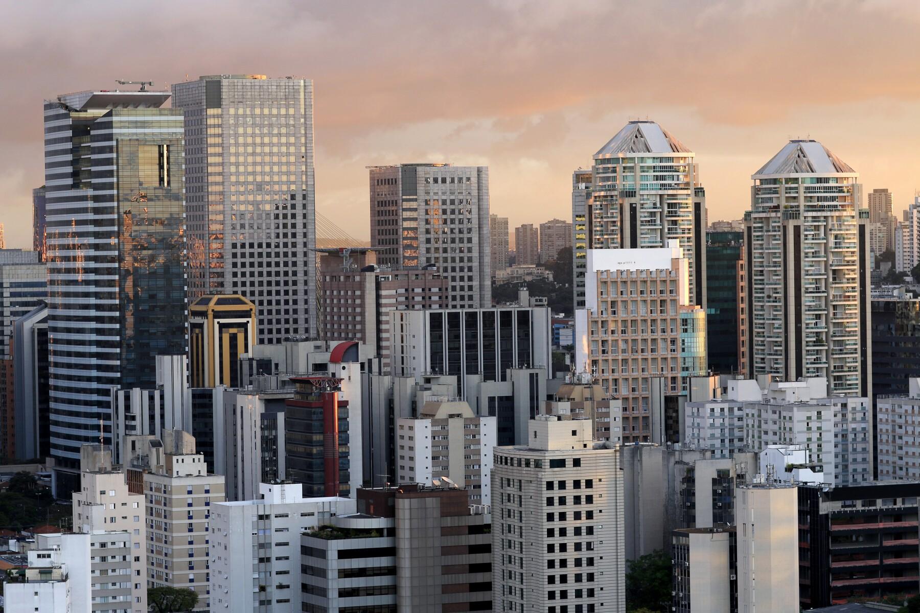 Building the city of Sao Paulo, South America Brazil