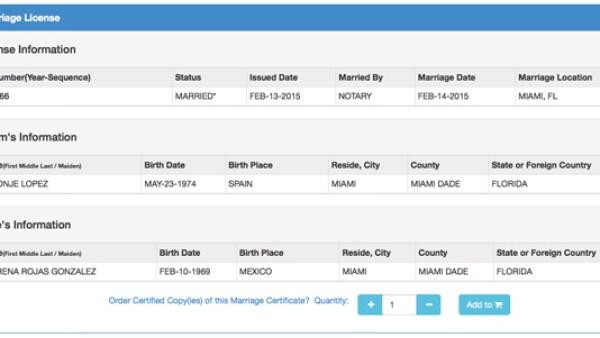 La actriz y el empresario español se casaron el 14 de febrero en Miami, según consta en los registros.