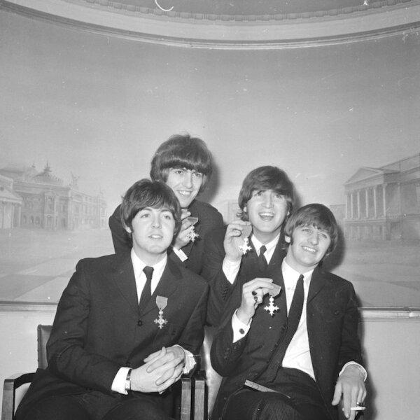 BEATLES AND THEIR M.B.E'S, LONDON , BRITAIN - 26/10/65