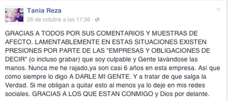 Esto es lo que Tania Reza escribió en Facebook.