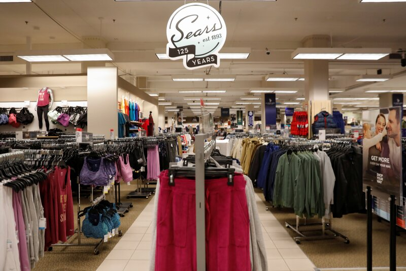 The Sears logo is seen inside a store in Brooklyn, New York