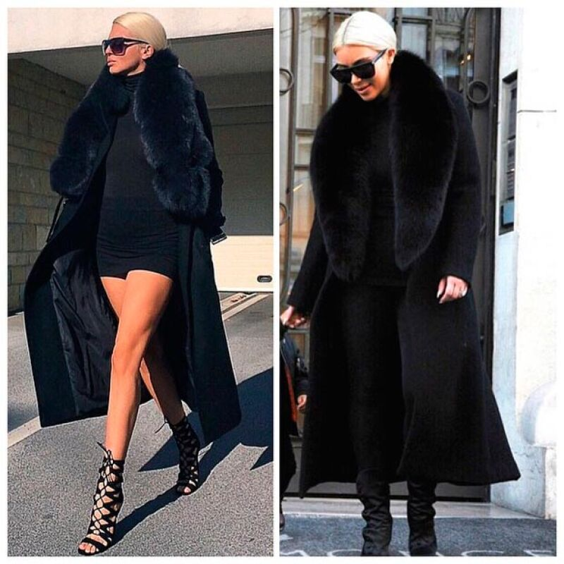 ¿Quién le copió a quién? Al parecer Kim no pudo crear su propio look para París Fashion Week y optó por imitar el estilo de Jelena Karleusa.