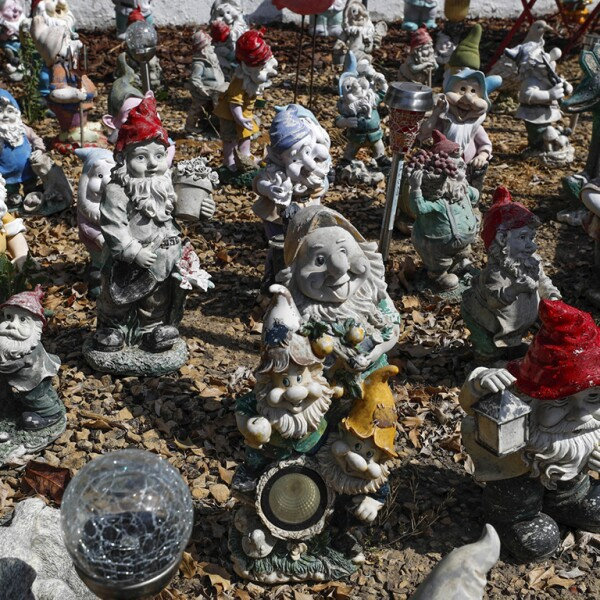 Some garden gnomes, part of the several hundreds collected since 2009 by Belgian Gilbert Rassart, are seen in the village of Avennes