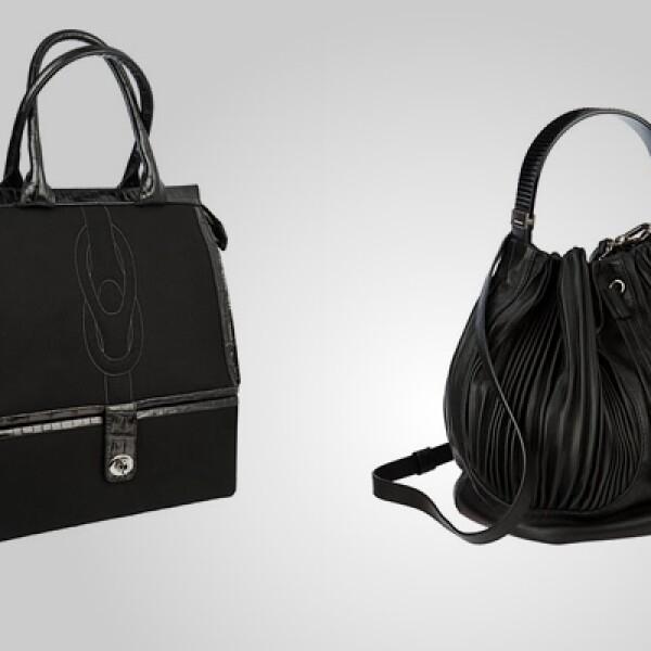 Dos opciones de bolsas en piel para mujer, con aplicaciones de gamuza al interior.