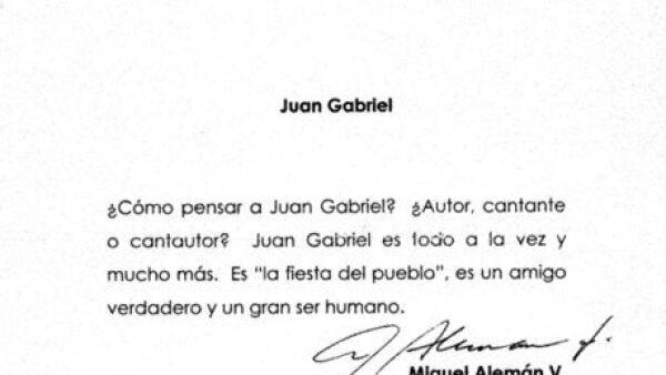 Carta de Miguel Aleman sobre Juan Gabriel, abril 2006
