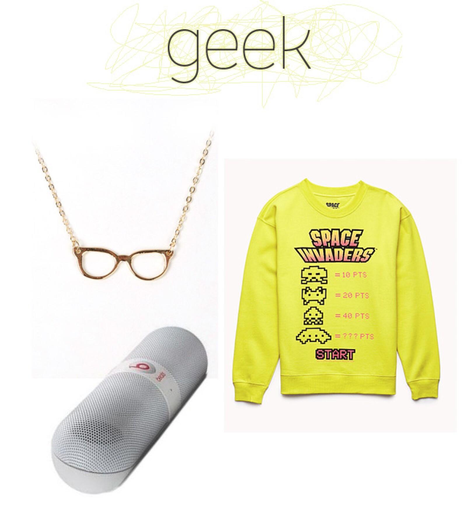 1. Collar / necessaryclothing.com 2. Bocinas Beats con Bluetooth / Best Buy 3. Sudadera con estampado / Forever 21