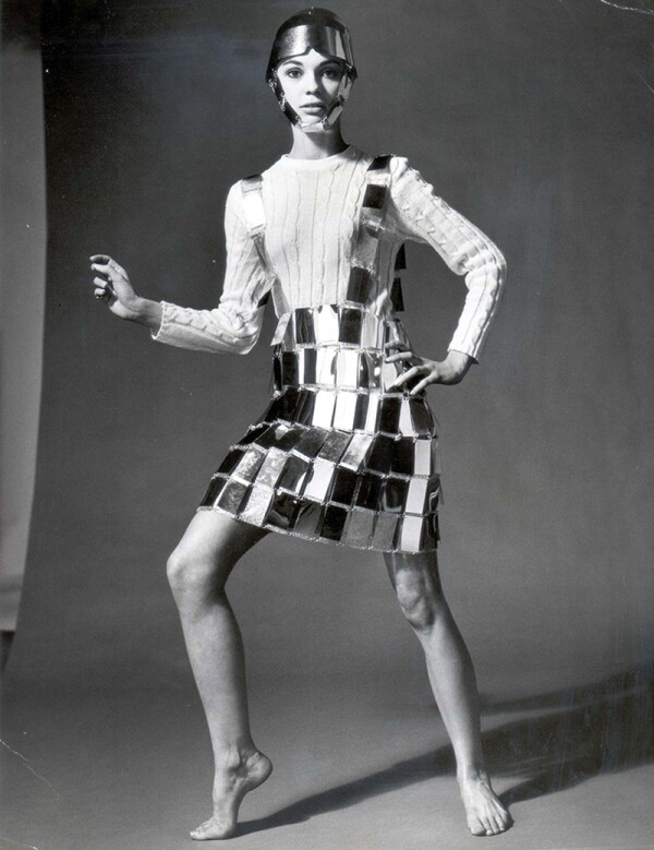 Paco Rabanne Shirt Silver Skirt With Matching Centurion Helmet 1966.