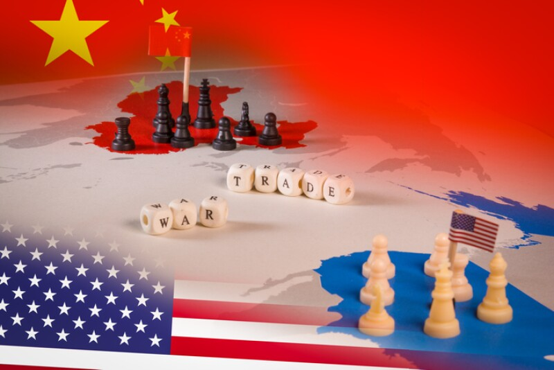 USA and China trade war concept with american flag and china flag.