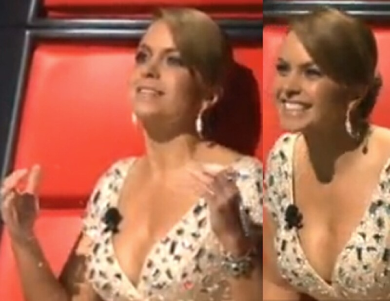 La ex esposa de Manuel Mijares lució un escotado mini vestido en color durazno que favoreció su figura durante la emisión del programa dominical.