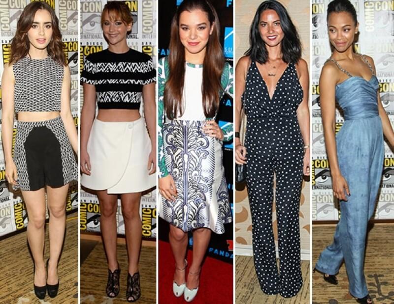 Jennifer Lawrence, Zoe Saldana, Olivia Munn, Hailee Steinfeld y Lily Collins fueron algunas de las mejor vestidas de la convención más famosa de Estados Unidos.