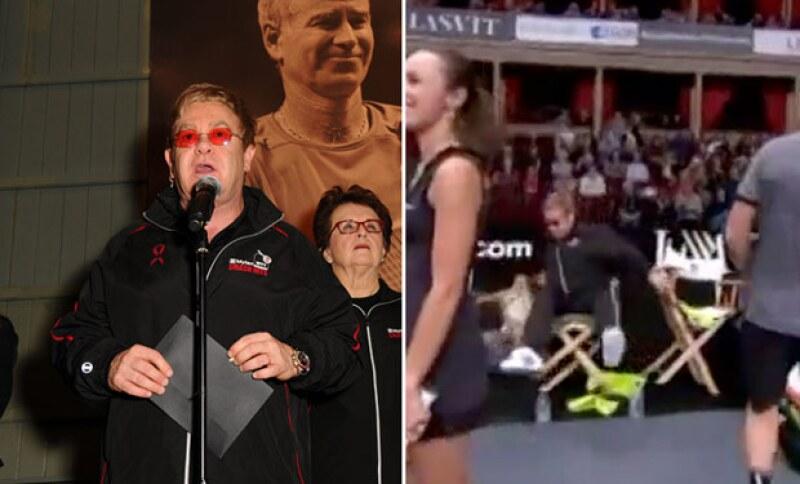 Elton dio un discurso en el inicio del partido de tenis.