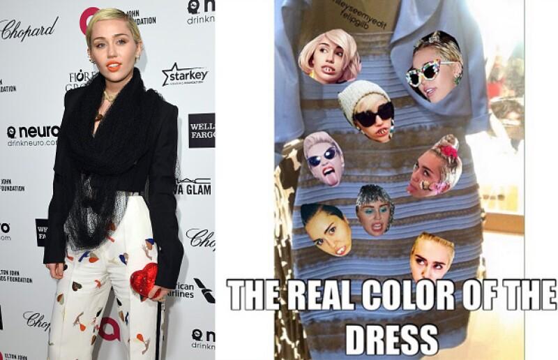 Como es típico en ella, Miley Cyrus tuvo una respuesta más creativa sobre el color del vestido.