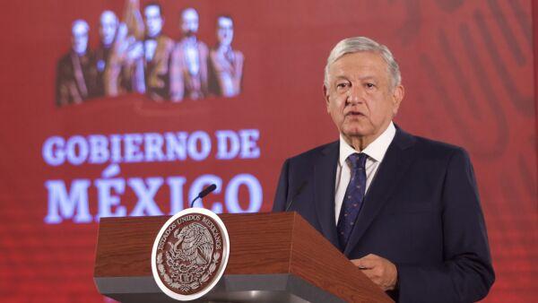 Andrés Manuel Lopez Obrador, presidente de México, acompañado de su gabinete encabezó conferencia de prensa en Palacio Nacional donde se anunció la segunda fase de riesgo de contagio COVID-19