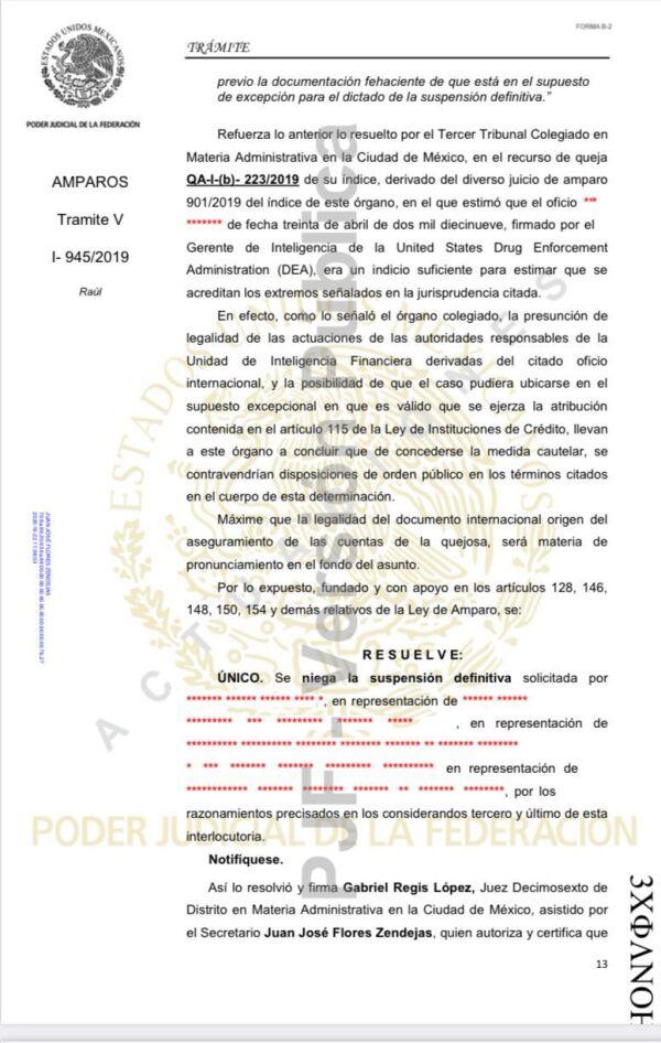 En un juicio de amparo iniciado por el empresario se dio a conocer la petición de investigación de la DEA a él y otras dos personas.