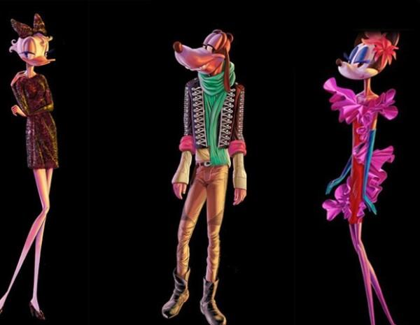 Así lucen los personajes de Disney para la campaña de Barneys, en la foto: Daisy, Pluto y Minnie.