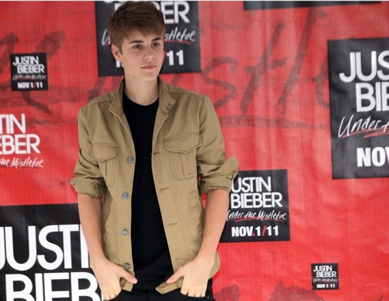 Justin Bieber durante la conferencia de prensa en la Ciudad de México.