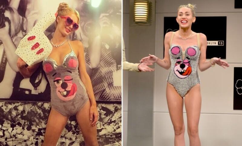 Paris se apropió de la imagen de Miley para impresionar a sus amigos el Halloween pasado.