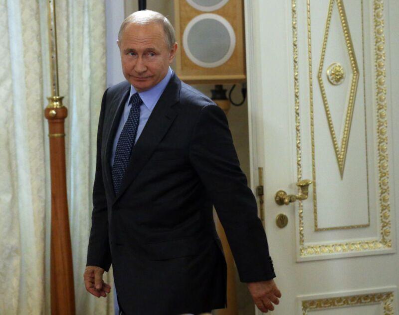 Russian President Vladimir Putin receives Bulgarian President Rumen Radev in St.Petersburg