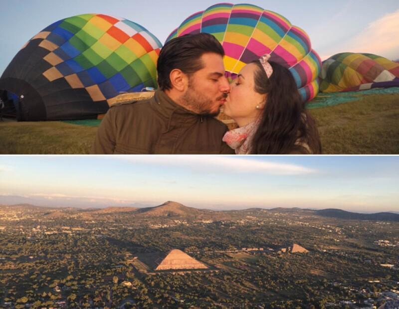 La privilegiada vista de la pareja desde su despegue en Tepoztlán.