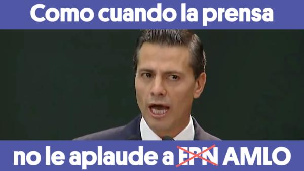 #ComoCuando 🙈 #AMLO hace un Peña Nieto con la prensa que no aplaude...