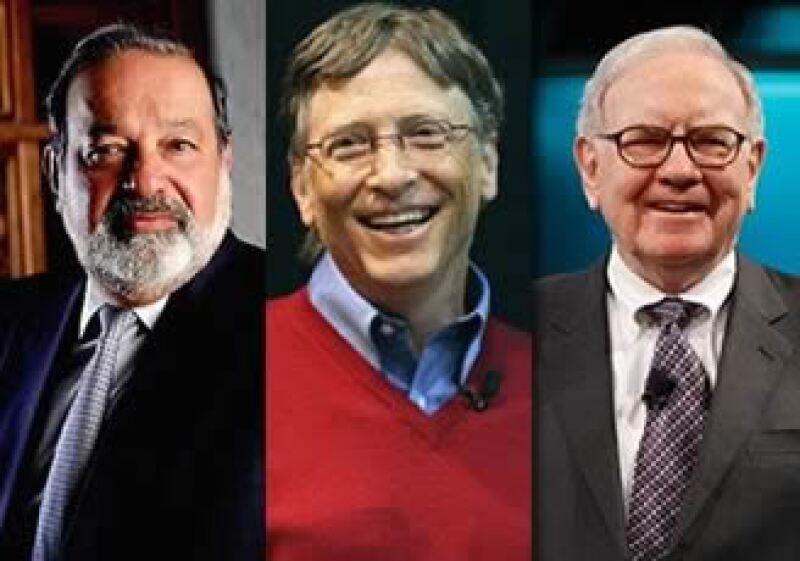 La fortuna de Slim, Gates y Buffett suma en conjunto 153,500 millones de dólares. (Foto arte: Jorge Rodríguez)