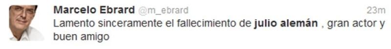 Marcelo Ebrard se sumó a las condolencias por la muerte de Alemán.