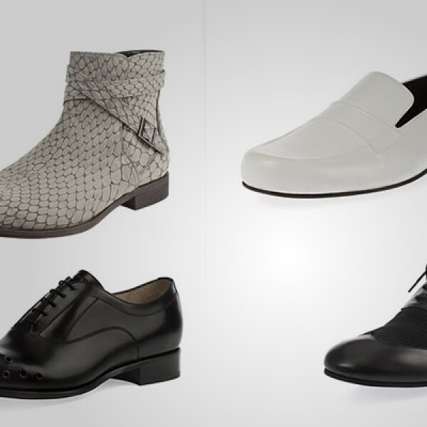 Para los zapatos presenta dos apuestas: la primera es marcada por calzado clásico hecho en piel, pero con algunos detalles de metal en su parte posterior.
