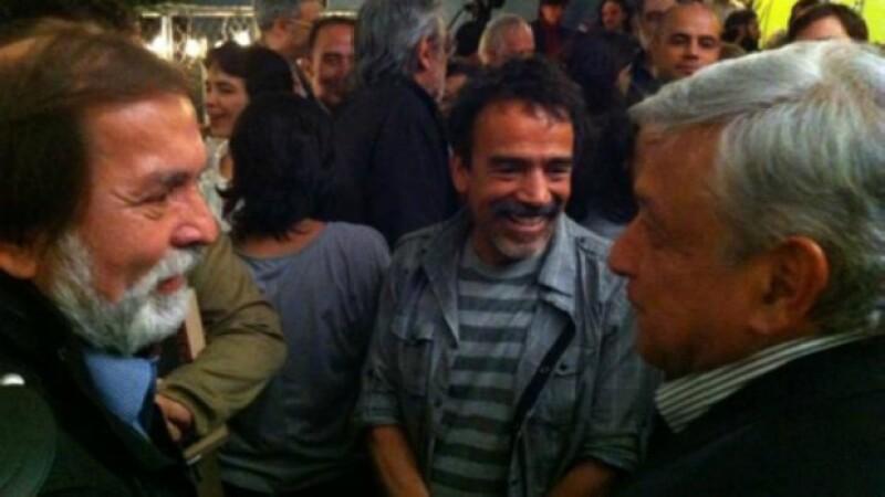 Andrés Manuel López Obrador con Epigmenio Ibarra y Damián Alcázar.