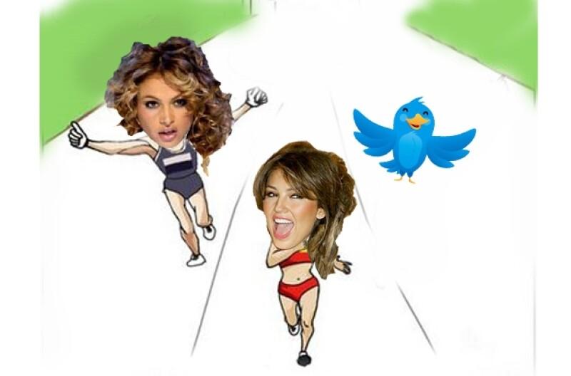Thalía dejó a atrás a Paulina Rubio en la carrera de quién tiene más followers en Twitter.