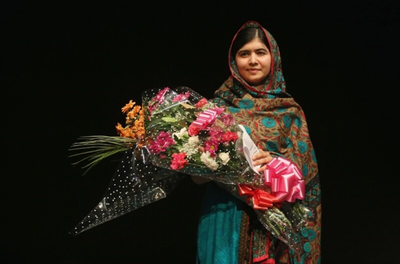 Malala durante la ceremonia en la que le entregaron el importante reconocimiento.