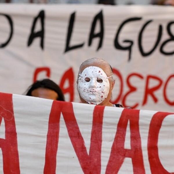 enmascarado en la marcha por la paz en zacatecas