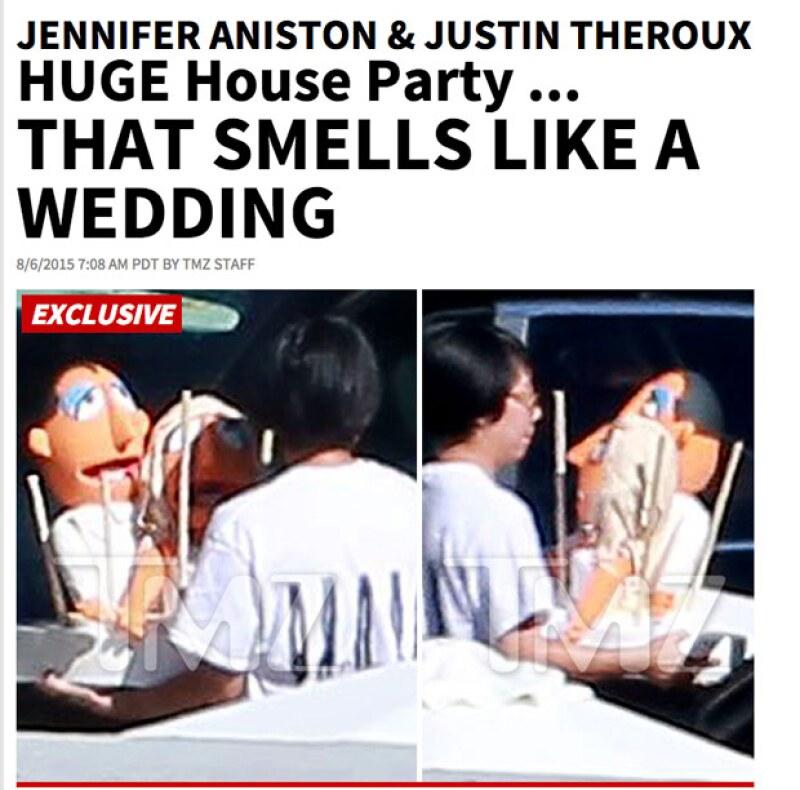 Con estas fotografías, TMZ dio a conocer que la fiesta privada posiblemente podría tratarse de una boda, debido al pastel con personajes de los Muppets.