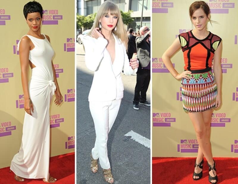 Rihanna, Taylor Swift y Emma Watson fueron de las mejores vestidas de los premios MTV 2012.
