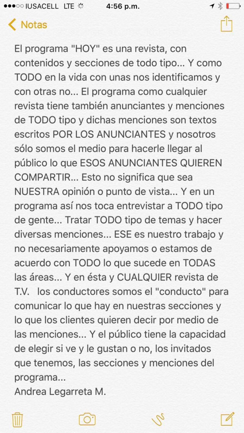 El comunicado que Andrea Legarreta publicó a través de sus redes, mismo que tuvo que borrar debido a las críticas que generó.